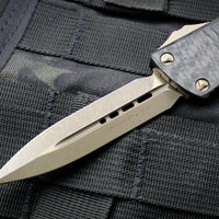 Microtech Troodon Double Edge OTF knife Carbon Fiber Top Black with Bronze Blade 138-13 CFS