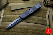 Microtech Troodon Double Edge OTF knife Carbon Fiber Top Black DLC Blade DLC HW 138-1 DLCTCFS
