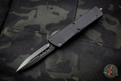 Microtech Troodon Double Edge OTF knife Black Tactical with DLC Black Blade Black HW 138-1 DLCTS NO LOGO VERSION