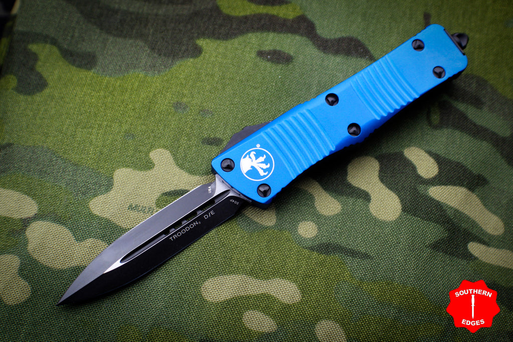 Microtech Troodon Blue Double Edge OTF knife with Black Blade 138-1 BL