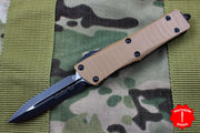 Microtech Troodon Double Edge OTF knife Tan G-10 Top with Black Blade 138-1 GTTA