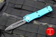 Microtech Troodon Turquoise Double Edge OTF knife with Black Blade 138-1 TQ