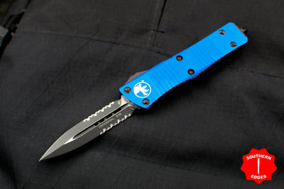 Microtech Troodon Blue Double Edge OTF knife with Black Part Serrated Blade 138-2 BL