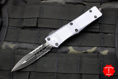 Microtech Troodon Double Edge OTF knife Gray with Part Serrated Black Blade 138-2 GY