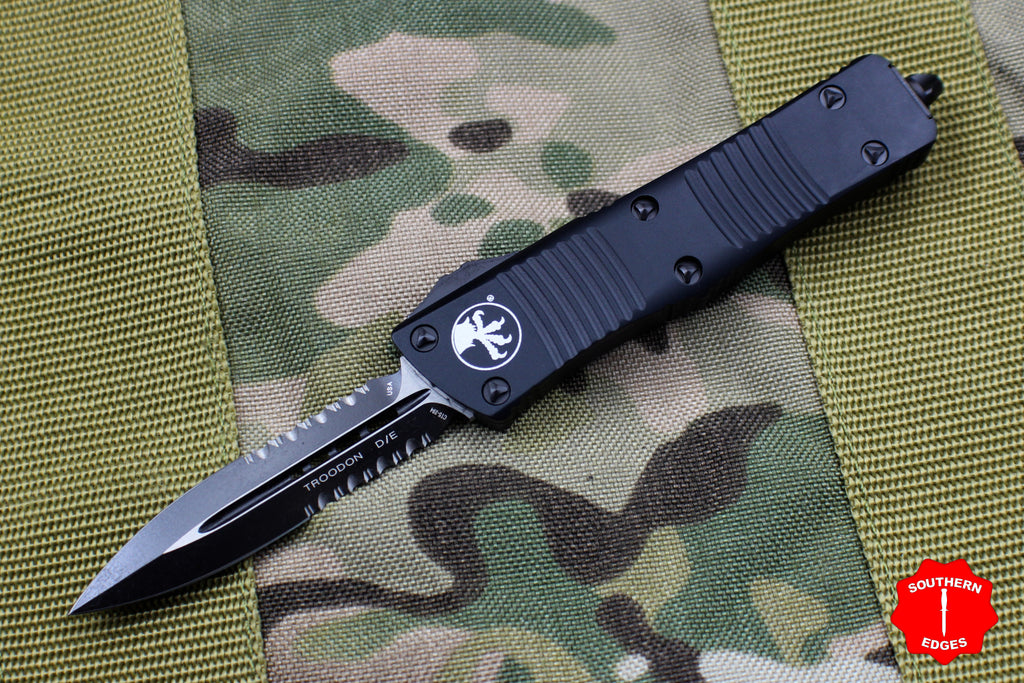 Microtech Troodon Tactical Double Edge OTF knife Black with Black Part Serrated Blade 138-2 T