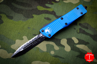 Microtech Troodon Blue Double Edge OTF knife with Black Full Serrated Blade 138-3 BL
