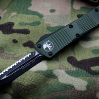 Microtech Troodon OD Green Double Edge OTF knife with Black Full Serrated Blade 138-3 OD