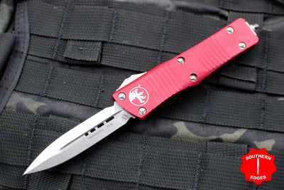 Microtech Red Troodon Double Edge OTF knife with Stonewash Blade 138-10 RD