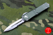Microtech Troodon Double Edge OTF knife OD Green with Satin Part Serrated Blade 138-5 OD