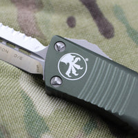 Microtech Troodon OD Green Double Edge OTF knife with Satin Full Serrated Blade 138-6 OD