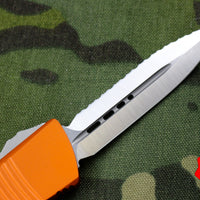 Microtech Troodon Double Edge OTF knife Orange with Satin Full Serrated Blade 138-6 OR
