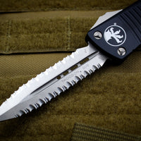 Microtech Troodon Double Edge OTF knife Black with Stonewash Double Full Serrated Blade 138-D12