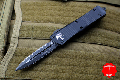 Microtech Troodon Tactical Double Edge OTF knife Black with Double Full Serrated Black Blade 138-D3 T