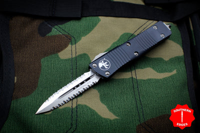 Microtech Troodon Black Double Edge OTF knife with Satin Double Full Serrated Blade 138-D6