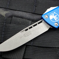 Microtech Troodon Blue Single Edge OTF knife with Apocalyptic Blade 139-10 APBL