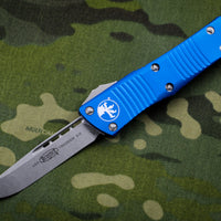 Microtech Troodon Blue Single Edge OTF knife with Stonewash Blade 139-10 BL