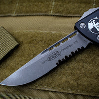 Microtech Troodon Single Edge OTF knife Black with Apocalyptic Part Serrated Blade 139-11 AP
