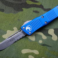 Microtech Troodon Blue Single Edge OTF knife with Stonewash Part Serrated Blade 139-11 BL