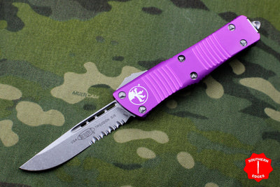 Microtech Troodon Violet Single Edge OTF knife with Stonewash Part Serrated Blade 139-11 VI