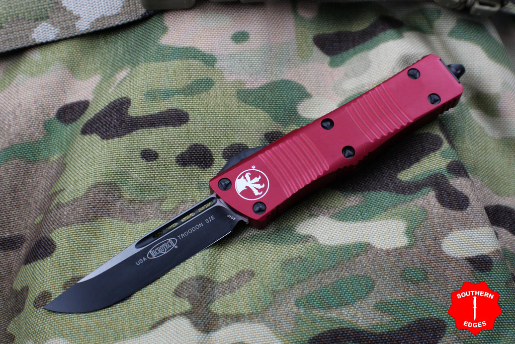 Microtech Troodon Red Single Edge OTF Knife with Black Blade 139-1 RD