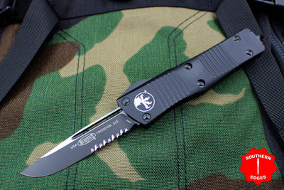 Microtech Troodon Single Edge OTF Knife Black Tactical with Part Serrated Black Blade 139-2 T
