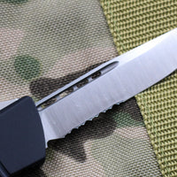 Microtech Troodon Single Edge OTF knife Black with Part Serrated Satin Blade 139-5