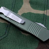 Microtech Troodon OD Green Single Edge OTF knife with Part Serrated Satin Blade 139-5 OD