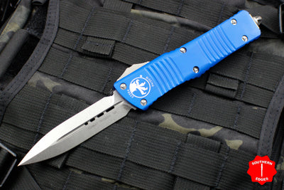 Microtech Blue Combat Troodon Double Edge Stonewash Blade 142-10 BL