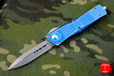 Microtech Distressed Blue Combat Troodon Double Edge Stonewash Blade 142-10 DBL