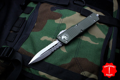 Microtech Combat Troodon OD Green Double Edge Part Serrated Stonewash Blade 142-11 OD