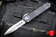 Microtech Combat Troodon Black Double Edge Part Serrated Stonewash Blade 142-11