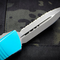 Microtech Distressed Turquiose Combat Troodon Double Edge OTF Apocalyptic Full Serrated Blade 142-12 DTQ