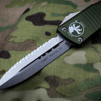 Microtech Combat Troodon OD Green Double Edge OTF Full Serrated Stonewash Blade 142-12 OD