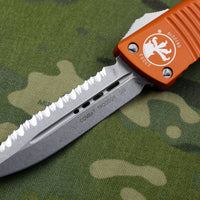 Microtech Orange Combat Troodon Double Edge OTF Stonewash Full Serrated Blade 142-12 OR