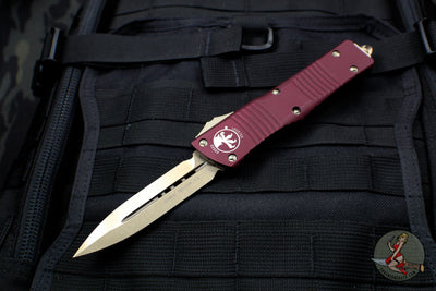 Microtech Combat Troodon Merlot Red Double Edge Bronze Blade 142-13 MR