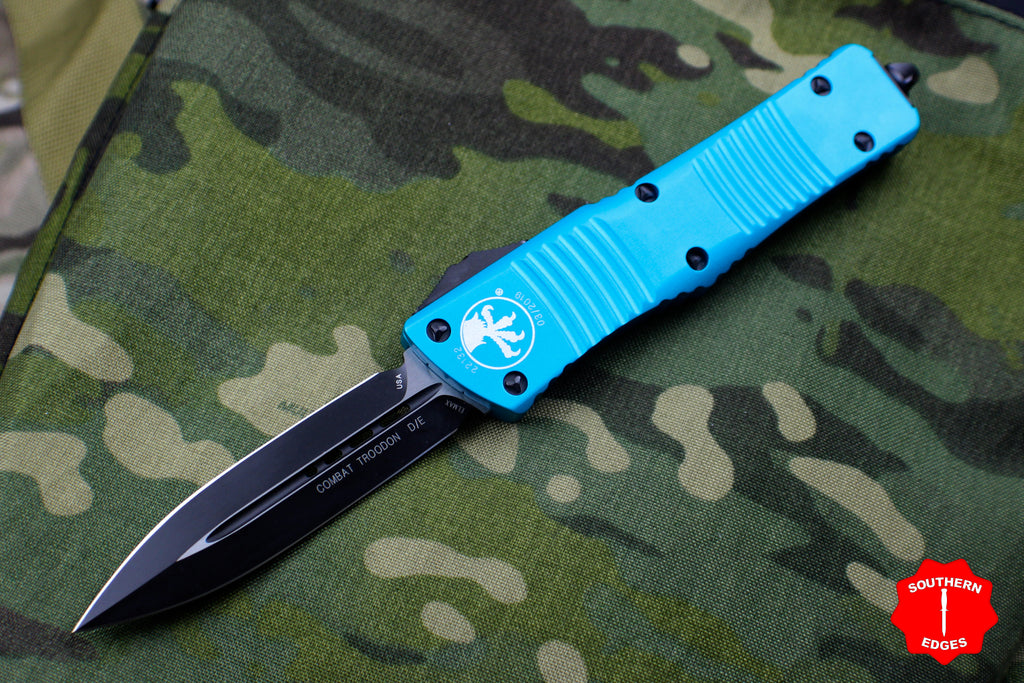 Microtech Turquoise Combat Troodon Double Edge OTF Black Blade 142-1 TQ