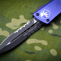 Microtech Combat Troodon purple Double Edge OTF Black Part Serrated Blade 142-2 PU