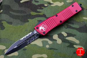 Microtech Combat Troodon Red Double Edge OTF Black Part Serrated Blade 142-2 RD