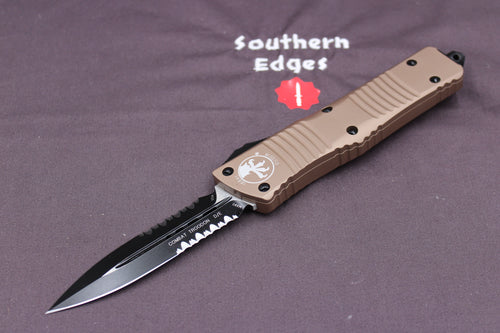 Microtech Combat Troodon Tan D/E Tactical Part Serrated Black Blade 142-2 TA