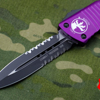 Microtech Combat Troodon Violet Double Edge OTF Black Part Serrated Blade 142-2 VI