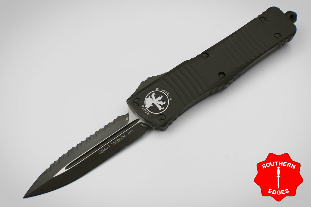 Microtech Combat Troodon CERAKOTED OD Green D/E Tactical FULL Serrated OD Green Blade 142-3COD