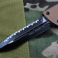 Microtech Combat Troodon D/E Tan G-10 Top Black Bottom Black Full Serrated Blade 142-3 GTTA