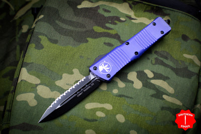 Microtech Purple Combat Troodon Double Edge Full Serrated Black Blade 142-3 PU