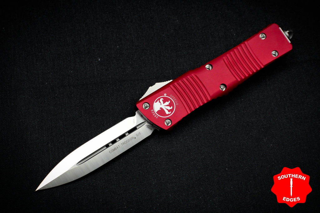 Microtech Combat Troodon Red Double Edge OTF Satin Blade 142-4 RD