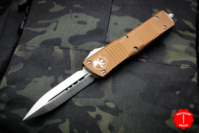 Microtech Combat Troodon Tan Double Edge OTF with Satin Blade 142-4 TA
