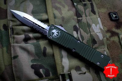 Microtech Combat Troodon Double Edge OD Green Part Serrated Satin Blade 142-5 OD