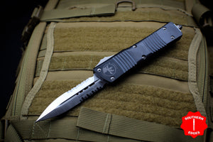 Microtech Combat Troodon Black Double Edge with Part Serrated Satin Blade 142-5