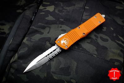 Microtech Combat Troodon Orange Double Edge OTF with Part Serrated Satin Blade 142-5 OR