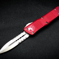 Microtech Combat Troodon Red Double Edge OTF with Part Serrated Satin Blade 142-5 RD