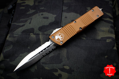 Microtech Combat Troodon Tan Double Edge OTF with Part Serrated Satin Blade 142-5 TA